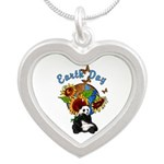 sunflower earth panda Silver Heart Necklace