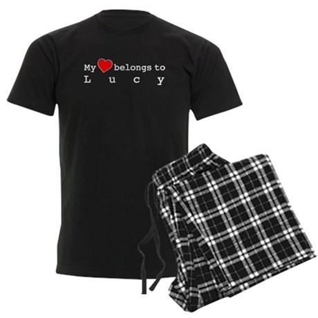 My Heart Belongs To Lucy Men's Dark Pajamas