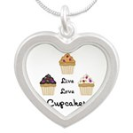 Live Love Cupcakes Silver Heart Necklace