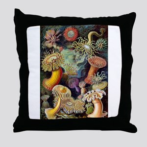 Antique 1904 Sea Anemone Nature Print Throw Pillow