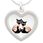 siamese twins redone Silver Heart Necklace