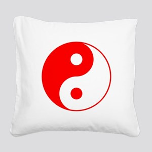 Red Yin Yang Square Canvas Pillow