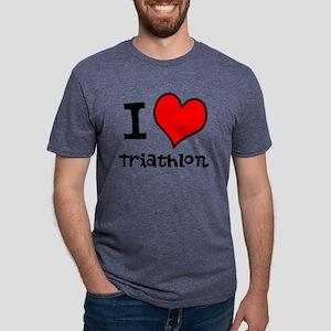 I LOVE Triathlon Mens Tri-blend T-Shirt