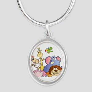 Jungle Animals Silver Oval Necklace
