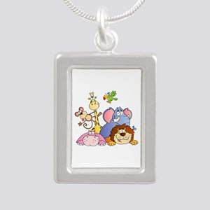 Jungle Animals Silver Portrait Necklace