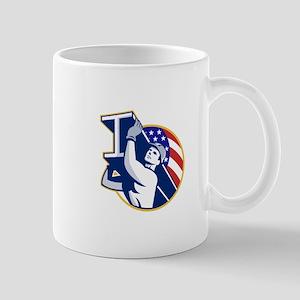 Construction Steel Worker I-Beam American Flag Mug