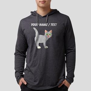 Custom Grey Cat Mens Hooded Shirt