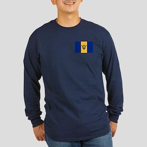 Flag of Barbados Long Sleeve Dark T-Shirt
