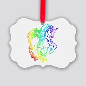 Rainbow Unicorn Picture Ornament