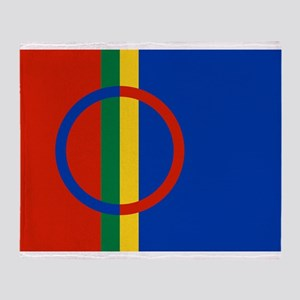 Flag of Sámi land Throw Blanket