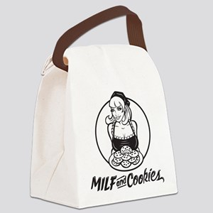 MILF and Cookies Black and White Canvas Lunch Bag