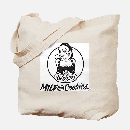 MILF and Cookies Black and White Tote Bag