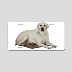 Yellow lab Aluminum License Plate