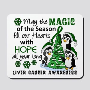 Holiday Penguins Liver Cancer Mousepad
