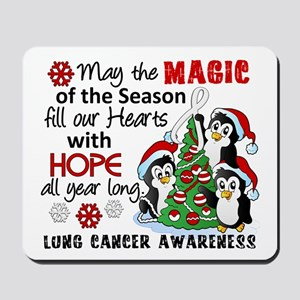 Holiday Penguins Lung Cancer Mousepad