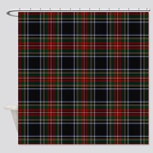 Black Stewart Tartan Shower Curtain