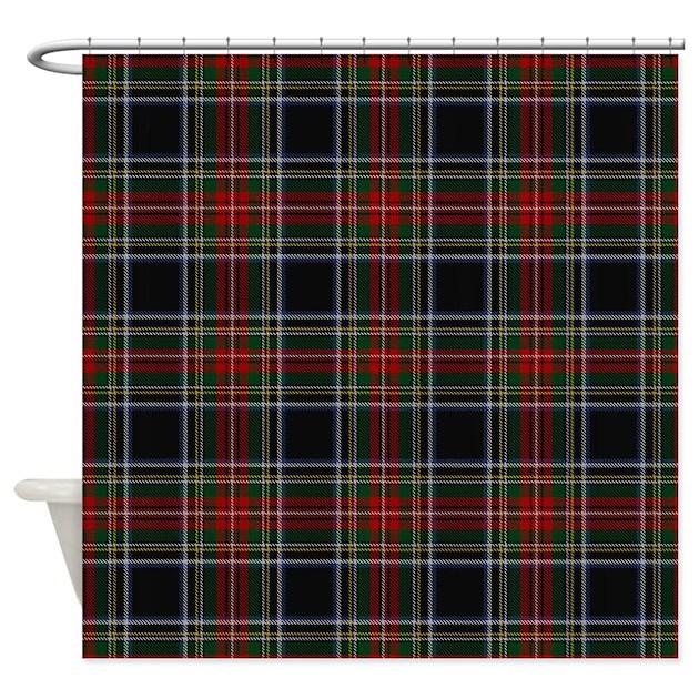 Black Stewart Tartan Shower Curtain by rebeccakorpita