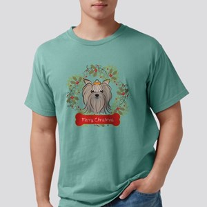 Yorkie Merry Christmas O Mens Comfort Colors Shirt