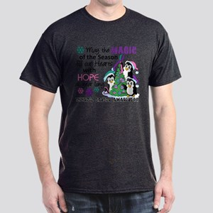 Holiday Penguins Thyroid Cancer Dark T-Shirt