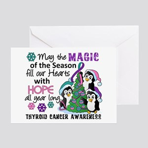 Holiday Penguins Thyroid Cancer Greeting Card