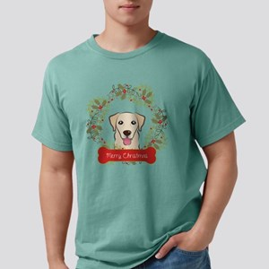 Yellow Lab Christmas Wre Mens Comfort Colors Shirt