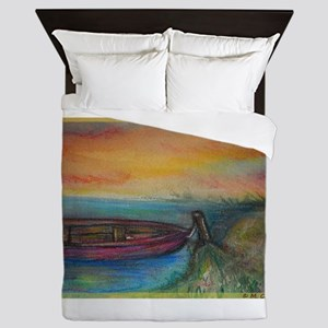 Boat! Colorful art! Queen Duvet