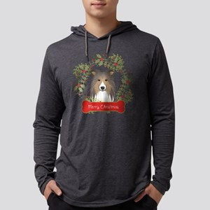 Shetland Sheepdog Christmas Wrea Mens Hooded Shirt