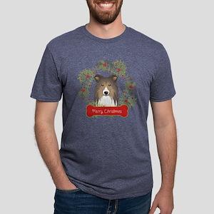 Shetland Sheepdog Christmas Mens Tri-blend T-Shirt