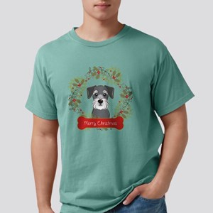 Schnauzer Christmas Wrea Mens Comfort Colors Shirt