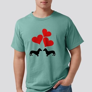 Hearts & Dachshunds Mens Comfort Colors Shirt