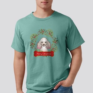 Poodle Christmas Wreath Mens Comfort Colors Shirt