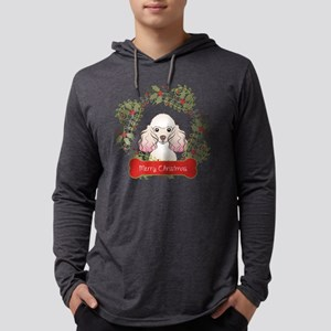 Poodle Christmas Wreath Mens Hooded Shirt