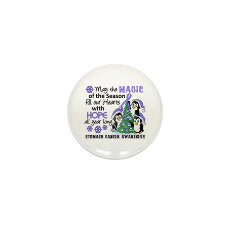Holiday Penguins Stomach Cancer Mini Button (10 pa