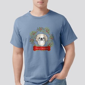 Pekingese Christmas Wrea Mens Comfort Colors Shirt