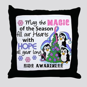Holiday Penguins SIDS Throw Pillow
