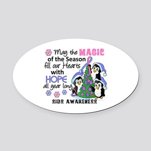 Holiday Penguins SIDS Oval Car Magnet
