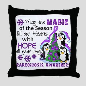 Holiday Penguins Sarcoidosis Throw Pillow
