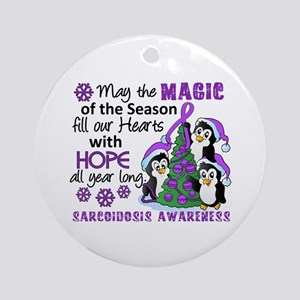 Holiday Penguins Sarcoidosis Ornament (Round)