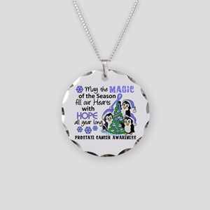 Holiday Penguins Prostate Cancer Necklace Circle C