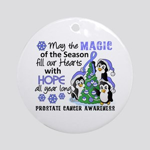 Holiday Penguins Prostate Cancer Ornament (Round)