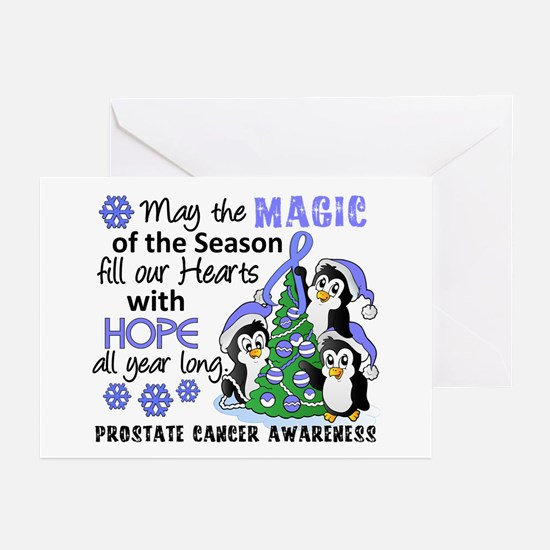 Holiday Penguins Prostate Cancer Greeting Cards (P
