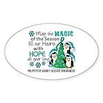 Holiday Penguins PKD Sticker (Oval 50 pk)
