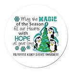 Holiday Penguins PKD Round Car Magnet