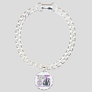 Holiday Penguins Pancreatic Cancer Charm Bracelet,
