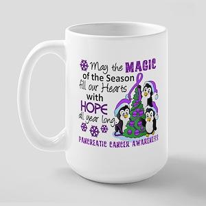 Holiday Penguins Pancreatic Cancer Large Mug