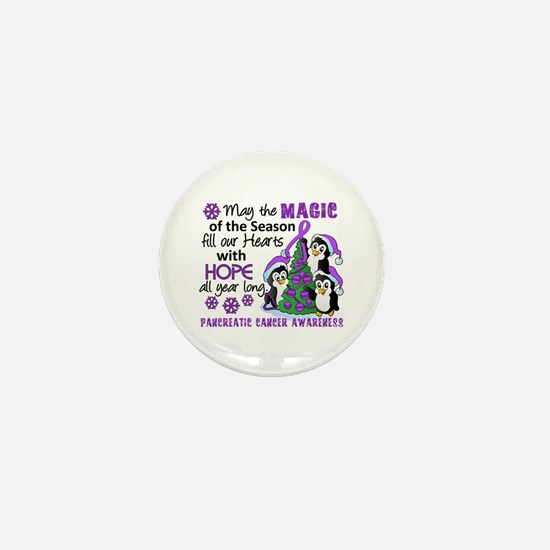 Holiday Penguins Pancreatic Cancer Mini Button