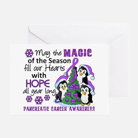 Holiday Penguins Pancreatic Cancer Greeting Card