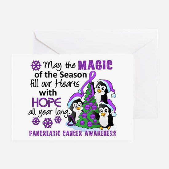 Holiday Penguins Pancreatic Cancer Greeting Cards