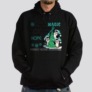 Holiday Penguins Ovarian Cancer Hoodie (dark)