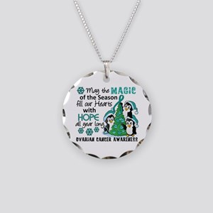 Holiday Penguins Ovarian Cancer Necklace Circle Ch